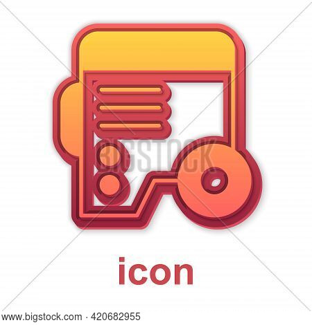 Gold Portable Power Electric Generator Icon Isolated On White Background. Industrial And Home Immova