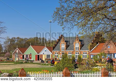 Holland, Michigan - May 2, 2016: Dutch style architecture shops at Windmill Island in Holland, Michigan