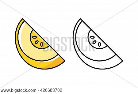 Melon Icon. Isolated On White Background. Vector Hand Drawn Illustration