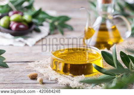 Extra Virgin Olive Oil On A Table