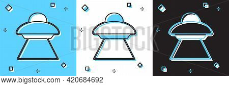 Set Ufo Flying Spaceship Icon Isolated On Blue And White, Black Background. Flying Saucer. Alien Spa