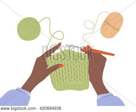 Crochet Knitting Process. African Female Hands With Hook And Thread. Balls Of Yarn. Top View Of The
