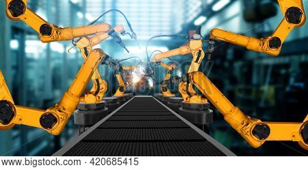 Mechanized Industry Robot Arm For Assembly In Factory Production Line . Concept Of Artificial Intell