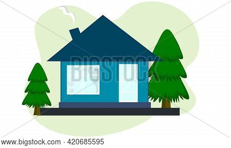 Residential Building With A Roof. Facade, Front View. Modern Exterior Of A House, Dwelling, Cottage.