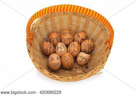 Egg Face In Basket. Orphaned. Dumped. Isolated On White Background