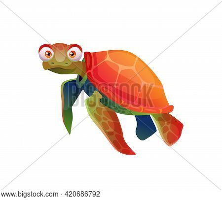 Turtle Cartoon Character Emoticon With Big Eyes Isolated Reptile Childish Toy Mascot. Vector Brown-r
