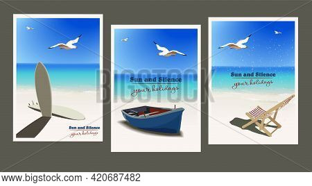 Set Of Vintage Posters On The Theme Of Summer Holidays On The Seashore, Ocean. To Create Advertising