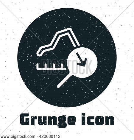 Grunge Global Economic Crisis Icon Isolated On White Background. World Finance Crisis. Monochrome Vi
