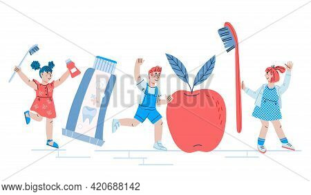 Children Dental Care Concept With Cute Kids And Dentist. Design For Pediatric Dentistry Services And