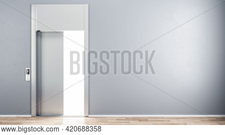 Grey Wall With Copyspace And Open Elevator Doors In Abstract Hall. 3d Rendering, Mockup