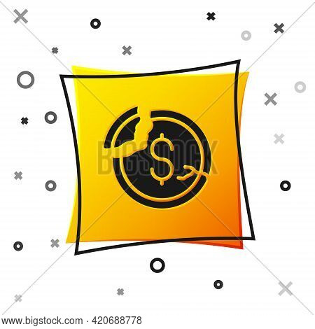 Black Dollar Rate Decrease Icon Isolated On White Background. Cost Reduction. Money Symbol With Down