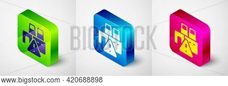 Isometric Shutdown Of Factory Icon Isolated On Grey Background. Industrial Building. Square Button.