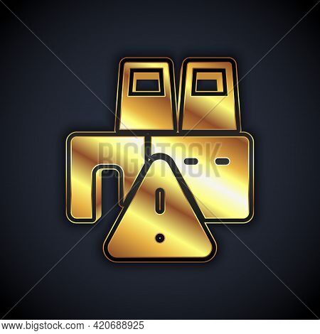 Gold Shutdown Of Factory Icon Isolated On Black Background. Industrial Building. Vector