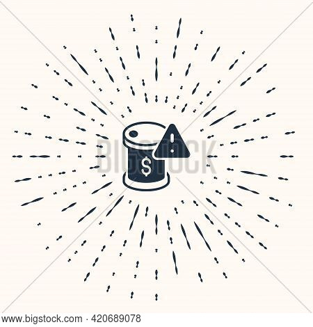 Grey Drop In Crude Oil Price Icon Isolated On Beige Background. Oil Industry Crisis Concept. Abstrac