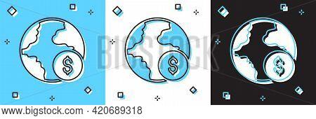 Set Global Economic Crisis Icon Isolated On Blue And White, Black Background. World Finance Crisis.