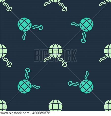 Green And Beige Global Economic Crisis Icon Isolated Seamless Pattern On Blue Background. World Fina