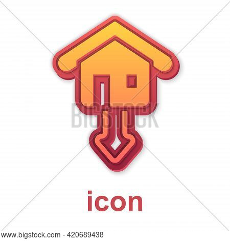 Gold Property And Housing Market Collapse Icon Isolated On White Background. Falling Property Prices