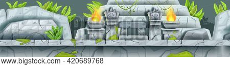 Aztec Game Seamless Level Landscape, Jungle Maya Temple Ruin Background, Stone Totem Face, Fire. Anc