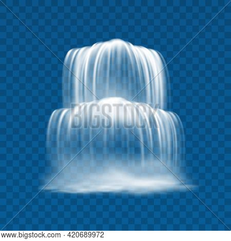 Water Fall From Mountain Isolated Waterfall With Rapids 3d Realistic Design. Vector Speed River Curr