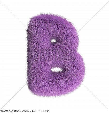 Hairy Font, Furry Alphabet, 3d Rendering, Letter B