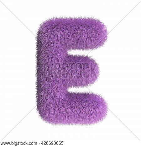 Hairy Font, Furry Alphabet, 3d Rendering, Letter E