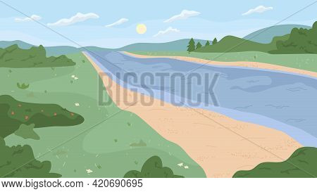 Scenery Landscape Of River Bank, Green Trees, Grass And Bushes, Forest Or Park Nature. Vector Scenic
