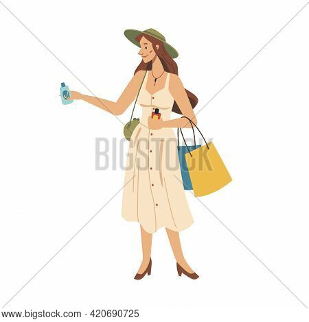 Fashion Woman Choosing Cosmetics, Cream In Hands Flat Cartoon Character Isolated. Vector Female Choo