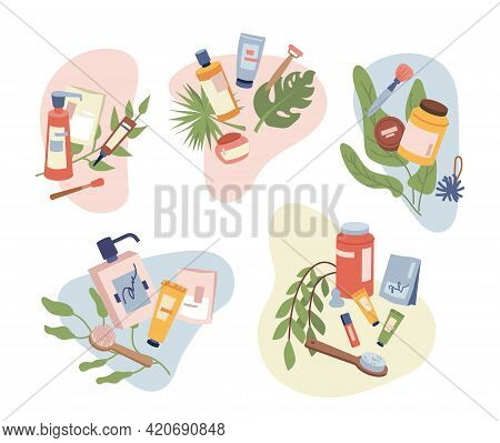 Set Of Beauty Organic Natural Cosmetics, Hair, Body, Face Care Products , Massage Brush And Treatmen