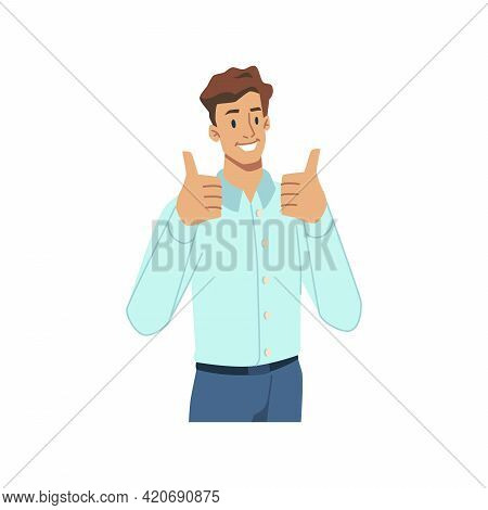 Cheerful Male Character In Formal Suit Showing Thumbs Up, Isolated Successful Businessman Gesturing.