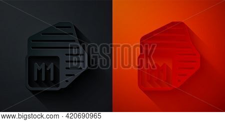 Paper Cut Processor Icon Isolated On Black And Red Background. Cpu, Central Processing Unit, Microch