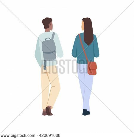 Students Man And Woman With Backpacks Back View Isolated Flat Cartoon Characters. Vector University