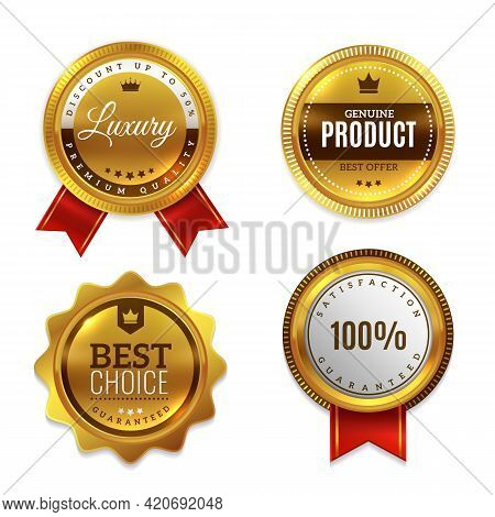 Badges Gold Seal Quality Labels. Sale And Discount Golden Medals With Red Ribbon, Luxury Genuine And