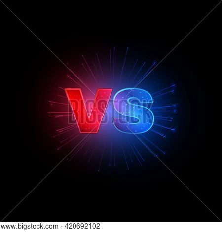 Emblem Vs. Versus Red And Blue Letters With Lightning On Black Background, Competitions Symbol, Conf