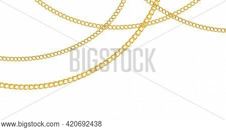 Chain Golden. Luxury Chains Different Shapes Seamless Background, Realistic Gold Links Jewelry Backd
