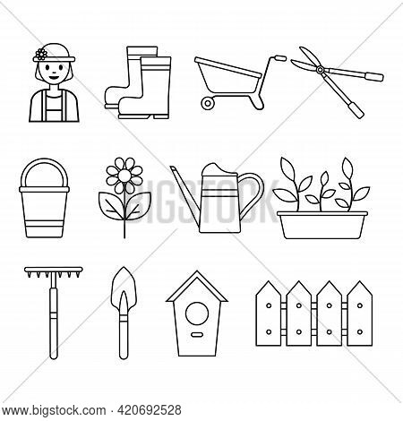 Set Of Icons Of Garden Tools, Seedlings, Flower, Gardener, Isolated On White Background. Household P