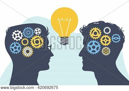 Collective Mind. Brainstorming Concept. Silhouettes Of Heads With Gears And Light Bulb. Success In G