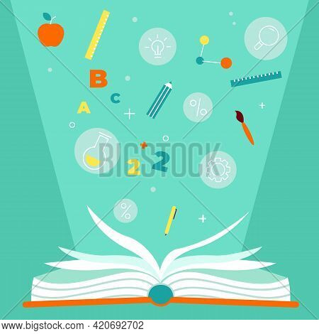 Educational Book. Open Textbook With Education Items, Numbers Stationery And Formulas, Encyclopedia
