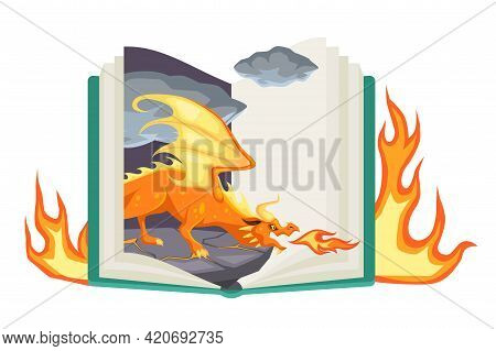 Fantasy Book. Open Fairy Tail With Fantasy Colorful Magic Dragon, Fire-breathing Mythical Reptile, E