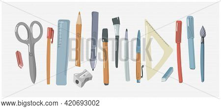 Hand Drawn Flat Stationery And Art Objects. Writing Doodle Accessories. Set Of School Utilities And