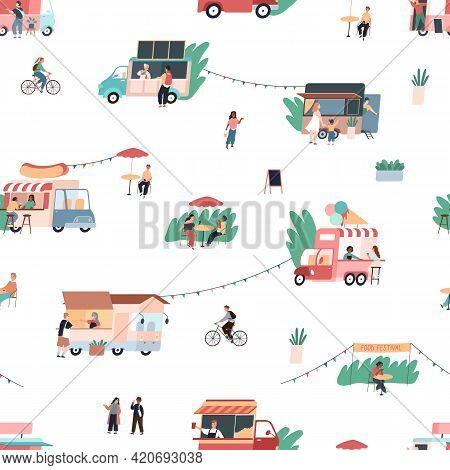 Street Food Pattern. Seamless Texture Of Gastronomic Fair With Mobile Cafes. People Buy And Eat Snac