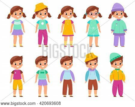 Kids Different Wearing. Boys And Girls In Diverse Colorful Outfits, Children And Teenagers Various M