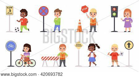 Kids Traffic Rules. Safety Road Movement, Young Pedestrians With Signs, Childish Educational Scenes,