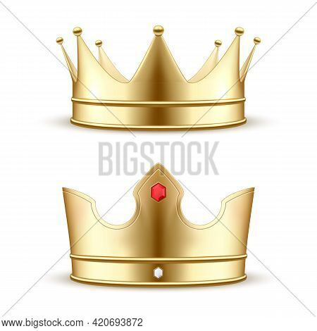 Set Realistic Gold Crown Vector Illustration. Luxury Headdress For King And Queen Medieval Headgear