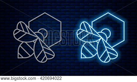 Glowing Neon Line Bee And Honeycomb Icon Isolated On Brick Wall Background. Honey Cells. Honeybee Or