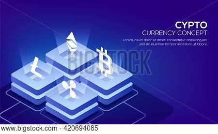 Blockchain Or Cryptocurrency Based Isometric View Of Glowing Block Servers Linked To Each Other For