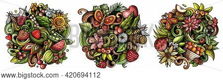 Summer Nature Cartoon Vector Doodle Designs Set. Colorful Detailed Compositions With Lot Of Summerti