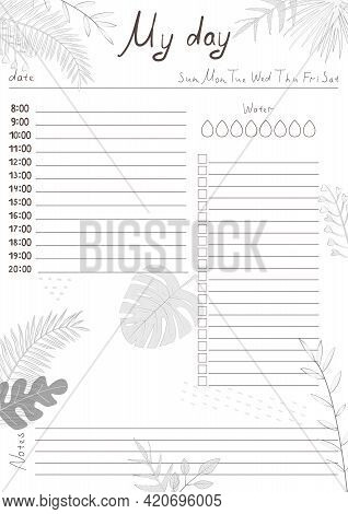 Printable A4 Paper Sheet With Day Planner Blank To Fill On Background With Tropical Leaves. Minimali