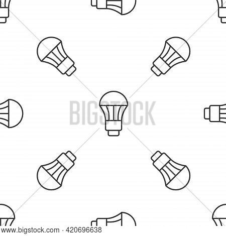 Grey Line Led Light Bulb Icon Isolated Seamless Pattern On White Background. Economical Led Illumina