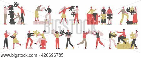 Partnership Business Concept. People Collecting Puzzle Elements, Teamwork, Coworking Or Partnership