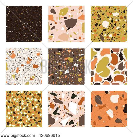 Marble Chips Seamless Patterns. Granite, Marble And Quartz Textured Flooring Mosaic Vector Backgroun